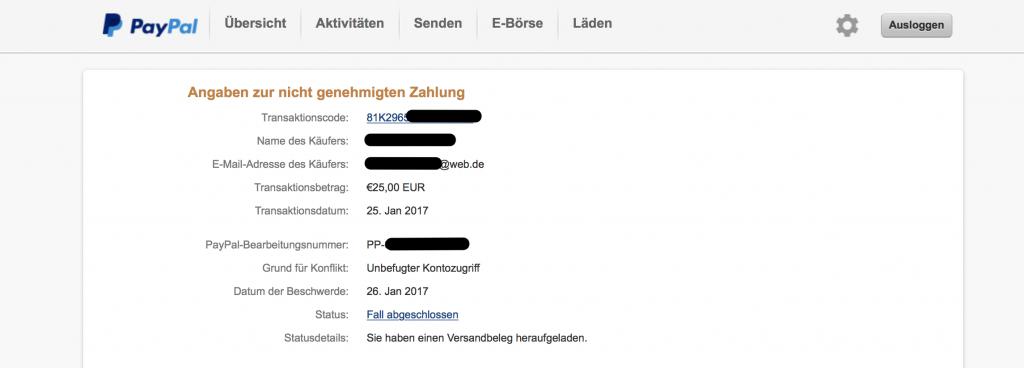 Paypal Unberechtigter Kontozugriff